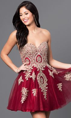 Beaded Lace Short Strapless Babydoll Homecoming Dress, $169, PromGirl