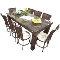Conjunto De Mesa Retangular com 8 Cadeiras em Junco Sintético - Ideal para área interna ou externa - Jardina Garden