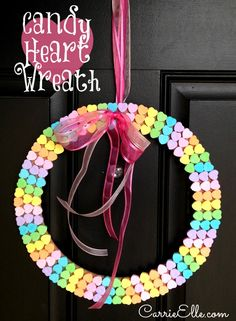 Candy Heart Wreath- Try w/heart-shaped Awesome Conversation Heart Crafts Valentine Wreath, Valentine Day Love, Valentine Day Crafts, Holiday Crafts, Holiday Fun, Holiday Ideas, Valentines Day Activities, Valentines Day Decorations, Pink Decorations
