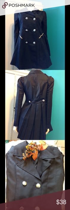 ON HOLD FLASH SALE Brand New Black Jacket ON HOLD FOR ROBIN🤑🤑FLASH SALE Chic Brand New Black Jacket with Beautiful Button Accents and Pleating in the Back for That Nice Vintage Flare.  Laying flat with jacket buttoned, arm pit to armpit measures 19' - Buttoned Up, laying flat, waist measures 19' and arms measure 6' laying flat, there is no stretch in the material. No Brand Jackets & Coats