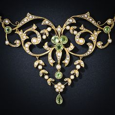 Antique Peridot and Seed Pearl Necklace - circa 1900.