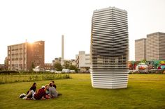 "Daan Roosegaard's Smog Tree Tower, the world's largest smog vacuum cleaner,"" debuts in Rotterdam."