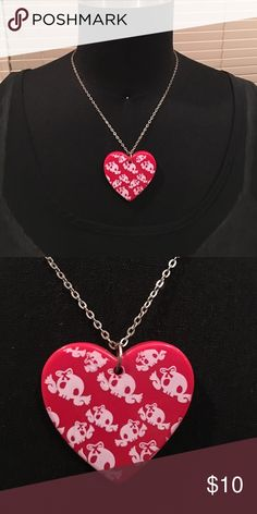 Skull heart necklace Silver chain, read heart with winged skulls wearing bows Jewelry Necklaces