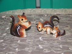 Vintage Bone China Miniature Family of 3 Chipmunk Squirrel  Animal Figurines