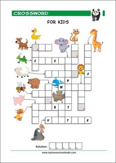 Free printable crossword puzzles for kids with pictures Writing Games For Kids, English Activities For Kids, Word Games For Kids, Activity Sheets For Kids, English Worksheets For Kids, Free Games For Kids, English Lessons For Kids, English Class, Free Puzzles For Kids