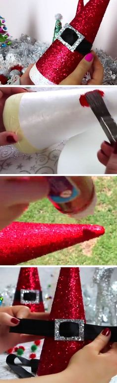 35 DIY Christmas Decoration Ideas - For Creative Juice DIY Santa Hat Cones. Budget-friendly DIY Christmas decor with dollar store! Noel Christmas, All Things Christmas, Winter Christmas, Christmas Ornaments, Diy Ornaments, Christmas Glitter, Glitter Ornaments, Homemade Christmas, Christmas Lights