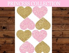 PRINCESS Birthday - Gold HEARTS - She Leaves Sparkle