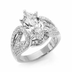 3.68ct Absolute™ Marquise Solitaire Pavé Wide Band Ring