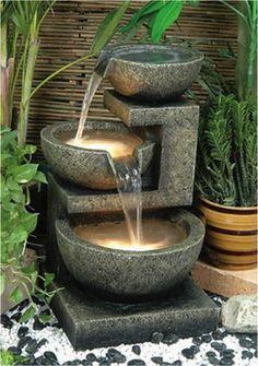 Fountain in asian garden