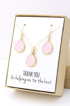 Beautiful blush pink personalized bridesmaid jewelry set. Perfect way to thank your besties for being a part of your special day!