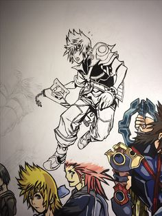 Kingdom Hearts Mural. Finally working on this again. Got Ven sketched and outlined in one day.