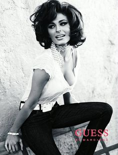 Line Gost...a Sophia Loren look alike in 2008 GUESS fashion ad. Photo by Canadian rock star Bryan Adams.