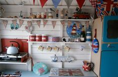 Red, white and blue: The beach hut was decked out with patriotic homeware for the contest Beach Hut Interior, Interior Garden, Interior Design, Beach Shack, Beach Huts, Cabana, British Beaches, Bar Shed, Gin Bar