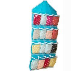 Allywit Multifunction Clear Socks Shoe Toy Underwear Sorting Storage Bag Door Wall Hanging Closet Organizer Blue