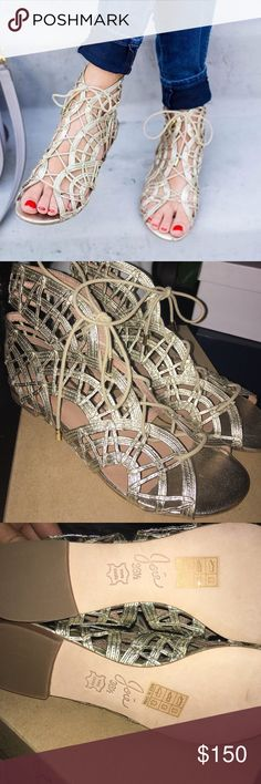 ☀️ NIB Joie Gold Gladiator Leather Sandal Sz 6.5 DROP DEAD LOWEST PRICE ❤️BRAND NEW  IN-BOX ❤️❤️❤️Complete your casual warm weather look with boho chic style in the Renee flat sandals from Joie! With a gorgeous woven design, these leather lace-up sandals will become your go-to gladiators this season! Metallic leather upper Ghillie lace-up Fully lined in leather Leather sole Joie Shoes Sandals