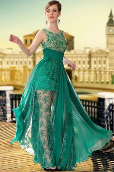 Free Shipping hot sale DORISQUEEN beaded 30650 floor length long Green Color Fashion See Through  Silk Chiffon Prom dress 2015