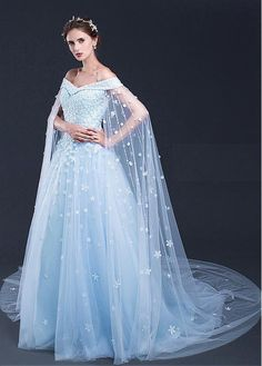 A-line/Princess Evening Dresses, Light Blue A-line/Princess Evening Dresses, A-line/Princess Long Evening Dresses, Light Sky Blue Prom Dresses Off-the-shoulder Sweep/Brush Train Tulle Prom Dress/Evening Dress Boho Wedding Dress With Sleeves, Blue Wedding Dresses, A Line Prom Dresses, Tulle Prom Dress, Lace Dress, Evening Dresses, Dress Up, Frozen Wedding Dress, Elsa Dress