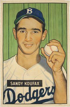 """2016 Sandy Koufax 1951 Bowman """"Card That Never Was"""" artwork by Arthur Miller."""