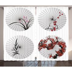 East Urban Home Swirled Floral Decor Graphic Print Room Darkening Rod Pocket Curtain Panels Size: x Rod Pocket Curtains, Curtain Panels, Patio Curtains, Flower Room, Thermal Curtains, State Art, Graphic Prints, Diy Art, Floral