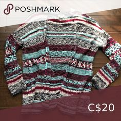 Multicoloured Cardigan A multicolored and multi patterned cardigan perfect over leggings. The size is an XS/S Garage Sweaters Cardigans Sweater Cardigan, Men Sweater, Cardigans, Garage, Sweaters For Women, Leggings, Pattern, Closet, Things To Sell