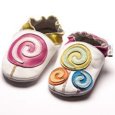 Jinwood designed by amsomo - LOLLIPOP white - soft sole - Hausschuhe - Lederpuschen - Krabbelschuhe: Amazon.de: Schuhe & Handtaschen