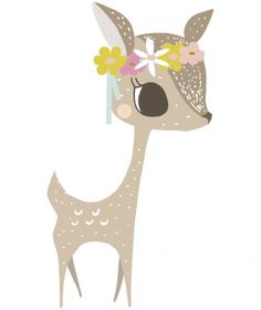 Sticker faon My little fawn by Vicky Carpenter, Lilipinso. Stickers animaux - Le sticker faon My little fawn by Vicky Carpenter pour Lilipinso s'applique Painting For Kids, Art For Kids, Image Deco, Art Mignon, Kids Room Paint, Baby Art, Cute Illustration, Nursery Wall Art, Cute Drawings