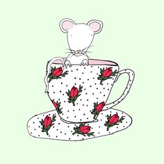 Mouse in a teacup-print