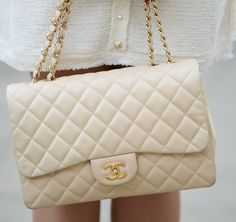 Cream quilted Chanel Bag...