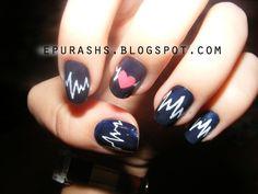 Heartbeat Nails #Manicure #Heart