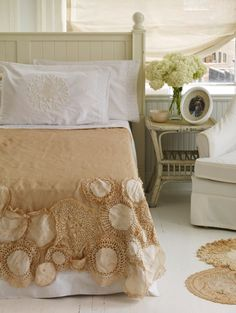 Bedspread made from vintage doilies sewn to linen bedspread.   .  #bohemian #bedroom #craft #DIY #decor #shabbychic #romantic