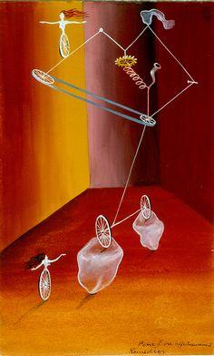 Transmisión ciclista con cristales by Remedios Varo, 1943. Oil on canvas. Remedios Varo Uranga was a Spanish-Mexican para-surrealist painter and anarchist.