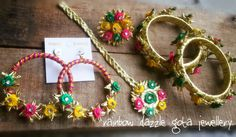 Gota jewellery set for Mehndi bride  Handmade jewellery set including tikka, earrings, kangan and a ring.Embellished with gota flowers and ribbon flowers