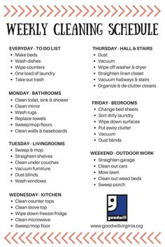 Weekly cleaning checklist ready for spring. House Cleaning Tips, Diy Cleaning Products, Cleaning Solutions, Cleaning Hacks, Apartment Cleaning Schedule, Household Cleaning Schedule, Clean House Schedule, Weekly House Cleaning, Cleaning Routines