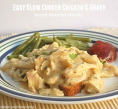 Easy Slow Cooker Chicken and Gravy. Family Friendly & Weight Watchers Friendly. 228 calories 6 WWPP #weightwatchers #slowcooker #recipes http://simple-nourished-living.com/2013/10/easy-slow-cooker-chicken-and-gravy-recipe/