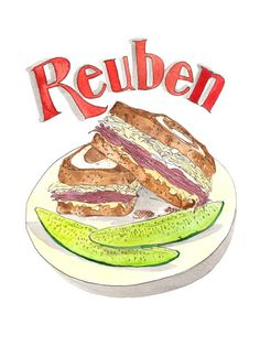A print of the delicious reuben sandwich. What do you call a reuben with a horn? A rye-nocerous.   The print is a 9x12 digital reproduction of an original watercolor + pen and ink illustration. It is printed on 100lb EcoSilk Archival Paper with soy-based inks and individually signed by the artist. It ships flat with white acid-free board in a plastic sleeve and arrives frame-ready.   Check out all the 9x12 Food Art prints…