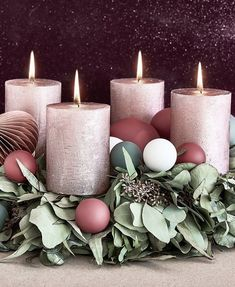Advent, Advent a little light is burning - an Advent wreath may in the pre-Christmas . Advent Wreath, Diy Wreath, Wreaths, Wreath Making, Rose Gold Christmas Decorations, Xmas Decorations, Pre Christmas, Christmas Is Coming, Raindrops And Roses