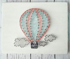 Hot Air Balloon String Art – Crafting Practice - Decoration For Home Nail String Art, String Crafts, String Art Balloons, Arte Linear, Diy And Crafts, Arts And Crafts, String Art Patterns, Creation Deco, Thread Art