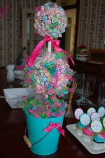 """Lollipop Topiary-great for parties and a """"She's about to POP"""" baby shower!"""