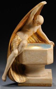 Art Deco Figural Lamp Stone, glass, and metal Carved figure of a partially nude… Art Nouveau, Statues, Statue Art, Moda Art Deco, Lampe Art Deco, Muebles Art Deco, Jugendstil Design, Art Deco Stil, Art Deco Lighting