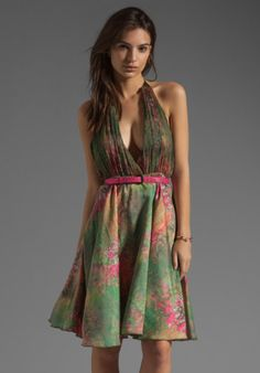 Alice + Olivia Bliss Gathered Halter Flare Dress with Belt in Vibrant Meadow Print