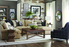 For a modern rustic look, mix some reused-wood furniture in with your Bassett furniture, along with a neutral color scheme. Get this sofa and others during the Bassett Winter Sale, going on now at Woodchucks!