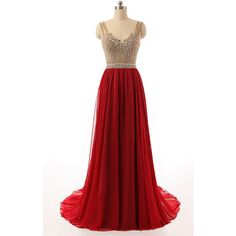 Red A Line V Neck Tulle Chiffon Sweep Train Beading Long Prom Dress (530 BRL) ❤ liked on Polyvore featuring dresses, a line dress, long v neck dress, chiffon dress, beaded prom dresses and long tulle dress
