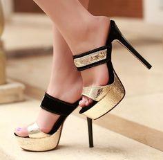 ENMAYER Gold Black Hot! High quality 2014 New Women Style High Thin Heels Sandals12CM party women pumps Wedding sandals $62.83 - 66.83