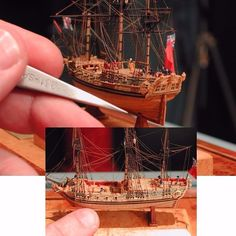 Miniature ship model By: Lloyd McCaffery From: practicalmachinist Boat In A Bottle, Ship In Bottle, Model Warships, Model Sailing Ships, Model Ship Building, Wooden Ship, Lego Projects, Yacht Design, Train Layouts