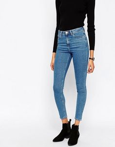 ASOS Ridley High Waist Skinny Jeans in Lily Pretty Blue