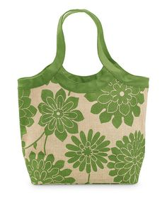 Take a look at this Green & Natural Jute City Monogram Tote by Buckhead Betties on #zulily today!