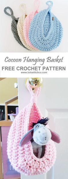 Perfect for the Nursery! Crochet this hanging basket – FREE PATTERN at www.lulos… - Home Accessories Diy Crochet Baby Cocoon Pattern, Crochet Basket Pattern, Crochet Baskets, Knitting Patterns, Crochet Patterns, Crochet Ideas, Confection Au Crochet, Crochet Storage, Crochet Amigurumi