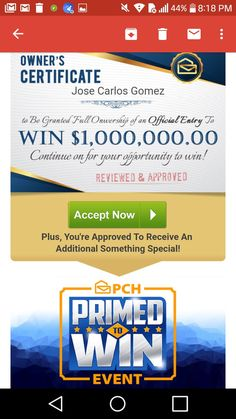 Pch accept prize number for 26 million plus Find answers now No