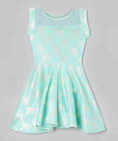 Love this Mint Lace Sheer Yoke Dress - Girls by Btween on #zulily! #zulilyfinds