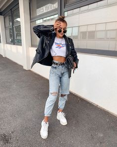 Vintage Outfits, Retro Outfits, Cute Casual Outfits, Edgy Chic Outfits, 90s Hip Hop Outfits, Grunge Outfits, Outfit Leather Jacket, 90s Fashion Grunge, 90s Grunge
